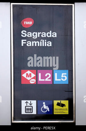 The Metro Station Sign At The Sagrada Familia Cathedral In Barcelona Spain - Stock Image