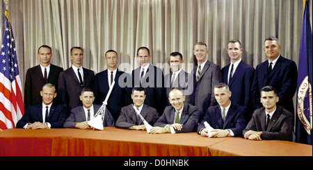 Astronaut Group Three announced on October 18, 1963. They are (seated, left to right) Edwin E. Aldrin Jr., William - Stock Image