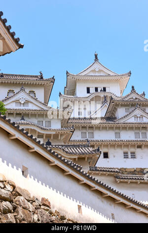 Low angle shot of Himeji Castle exterior, in Hyogo Prefecture, Japan. - Stock Image