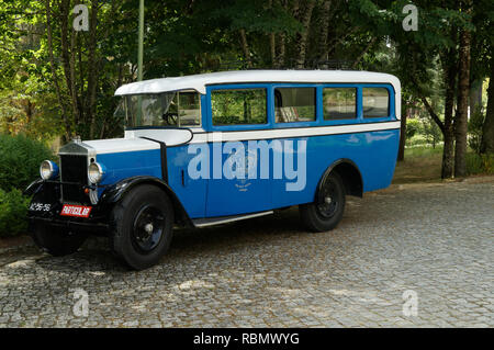 Ancient bus from Manchester Willys Overland Crossley UK manufacturer - Portugal 2018 - Stock Image