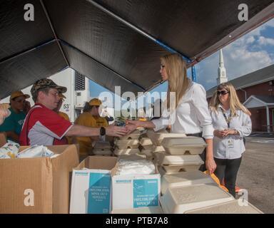 Ivanka Trump, daughter of President Donald Trump, thanks Red Cross volunteers during a prepared meal program for Hurricane Florence survivors at Hyde Park Baptist Church October 3, 2018 in Lumberton, North Carolina. - Stock Image