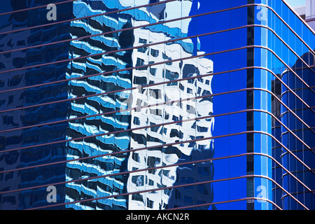 ARCHITECTURE, WINDOWS, SKYSCRAPER, CLOUDS, REFLECTION, BUILDING, OFFICE BUILDING, CONDOMINIUM, DWELLING, EXTERIOR, - Stock Image