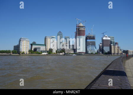 Canary Wharf from Rotherhithe, London, UK - Stock Image