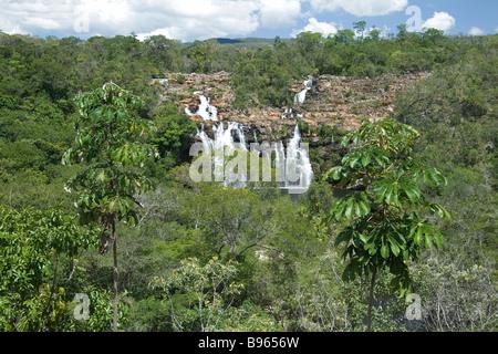 Cachoeira do Poço Encantado, Enchanted Pond Waterfall, Chapada dos Veadeiros, Veadeiros Tableland, Goias, Brazil - Stock Image