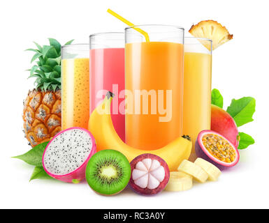 Isolated juices. Glasses of fresh juice and pile of tropical fruits isolated on white background with clipping path - Stock Image