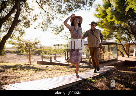 Senior couple running - Stock Image