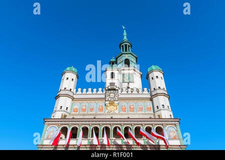 Poznan Poland, upper exterior view of the Renaissance Town Hall building (Ratusz) in Market Square in the Old Town area of Poznan, Poland. - Stock Image