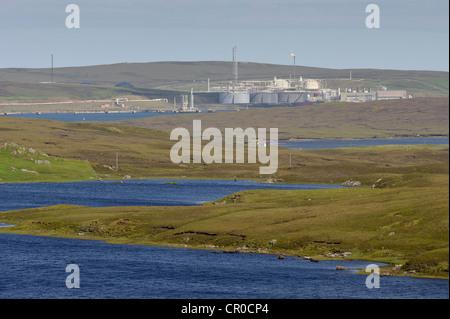 Sullom Voe oil terminal in the Shetland Islands. June 2010. - Stock Image