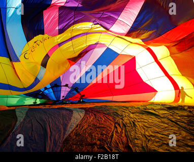 The inside pattern of a hot air balloon as it inflates at the 30th annual Atlantic International Balloon Fiesta, - Stock Image