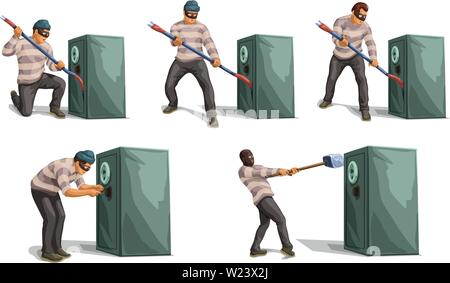 thief openning bank safe set - Stock Image