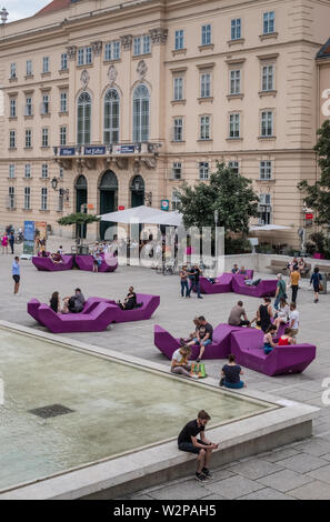 Interior courtyard, Museum Quarter (MuseumsQuartier), Museumsplatz, Vienna, Austria - Stock Image