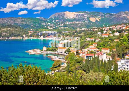 Adriatic coast view in Srebreno and Mlini bay, Dubrovnik archipelago in Dalmatia region of Croatia - Stock Image