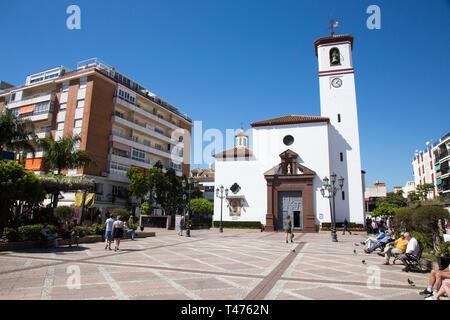Virgen del Rosario church in Plaza de la Constitucion, Fuengirola, Costa del sol, Spain. - Stock Image