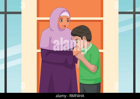 A vector illustration of Muslim Boy Kissing Her Mother Hand - Stock Image