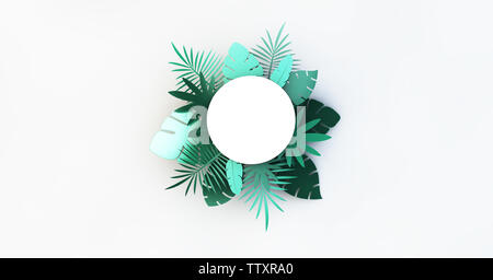 Paper circle with tropical palm leaves. 3d rendering - Stock Image