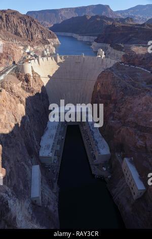 Hoover Dam on the border between Nevada and Arizona seen from Memorial Bridge. Nevada, USA, November 2018. - Stock Image