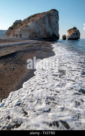 Aphrodite's Rock (Petra Tou Romiou) the birthplace of Aphrodite, Greek Goddess of Love and beauty, Paphos region, Republic of Cyprus. - Stock Image