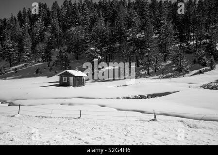 Little cabin in the snow - Stock Image