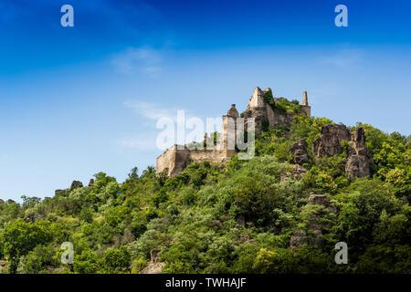 Burgruine Durnstein is a ruined medieval castle in Austria. Wachau valley. - Stock Image