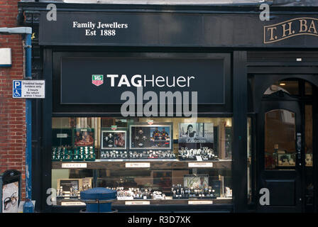Exterior Of AJewellers Shop with a Tag Heuer Sign - Stock Image
