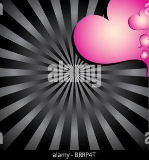Sunburst Background With Hearts - Stock Image