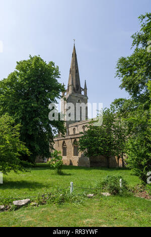 The church of St Peter in the village of Harrold, Bedfordshire, UK; mostly dating from the 13th century but with later additions. - Stock Image