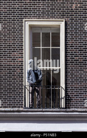 'The Fisherman' statue by Mark Jenkins, BRD SHT exhibition, Lazinc Gallery, Sackville Street, London, England - Stock Image