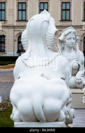 Two Sphinx in the Belvedere Palace gardens. Vienna, Austria. - Stock Image