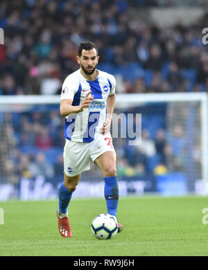 Martin Montoya of Brighton during the Premier League match between Brighton & Hove Albion and Huddersfield Town at the American Express Community Stadium . 02 March 2019 Editorial use only. No merchandising. For Football images FA and Premier League restrictions apply inc. no internet/mobile usage without FAPL license - for details contact Football Dataco - Stock Image
