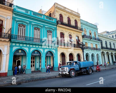 Zil, Russian truck outside old colonial buildings on Agramonte, opposite Capitolio Nacional, in the centre of Havana, capital of Cuba - Stock Image