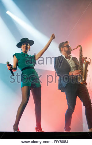 THE PAROV STELAR BAND performing live at Musilac summer festival, 10 july 2015 - Stock Image