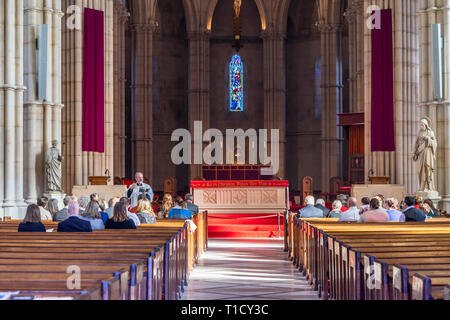 Church service in Arundel Cathedral, Arundel, West Sussex, England, UK - Stock Image