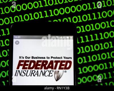 Ukraine. 16th Feb, 2019. Federated Mutual Insurance Company logo seen displayed on a smart phone. Credit: Igor Golovniov/SOPA Images/ZUMA Wire/Alamy Live News - Stock Image