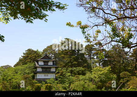 Hirosaki Castle Watchtower surrounded by green leaves in park of same name. In Hirosaki, Aomori Prefecture, Japan. - Stock Image