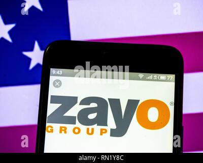 Ukraine. 16th Feb, 2019. Zayo Group Holdings, Inc. logo seen displayed on a smart phone. Credit: Igor Golovniov/SOPA Images/ZUMA Wire/Alamy Live News - Stock Image