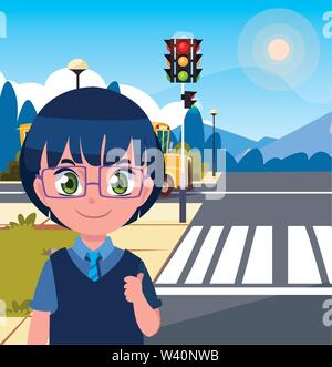 school boy with bag in the street bus vector illustration - Stock Image