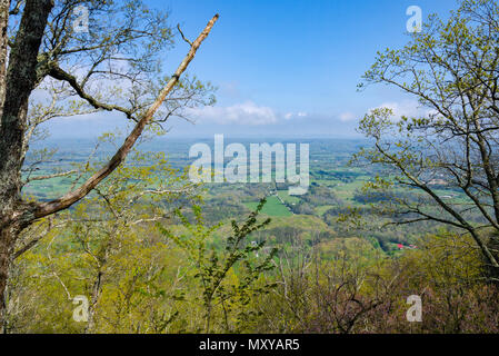 View of the beautiful East Tennessee landscape from an overlook on the top of a ridge at House Mountain Natural Area - Stock Image