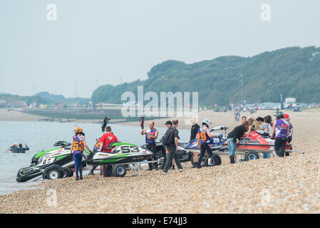 Stokes Bay, Hampshire, UK. 6th Sep, 2014. P1 Superstock final round. Stokes Bay, Gosport, Hampshire. AquaX Ski competitors - Stock Image