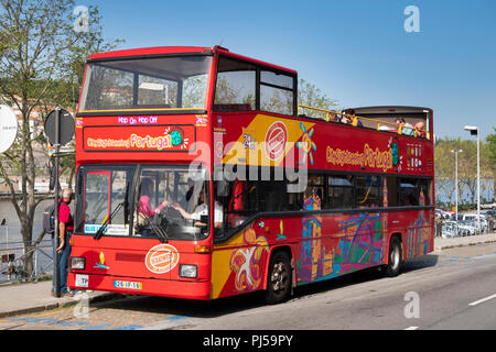 Portugal, Porto, Ribeira district, city sightseeing open topped, hop on, hop off, tour bus - Stock Image