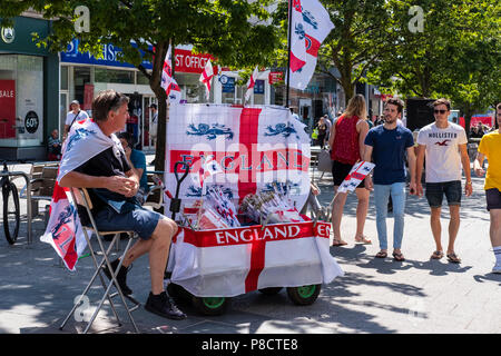 Southampton, UK.  11th July 2018. Southampton World Cup football merchandise being sold prior to the England Vs Crotia later today. credit Paul Chambers Alamy /Livenews - Stock Image