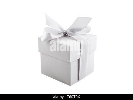 Small white present box isolated on white background - Stock Image