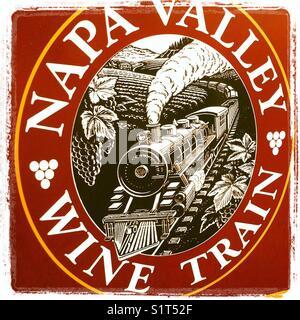 Napa Valley Wine Train logo - Stock Image