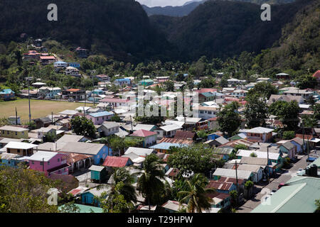 A view over houses in St Lucia, The Caribbean - Stock Image