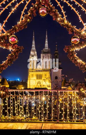 Advent in Zagreb, a view to the Zagreb Cathedral at night - Stock Image