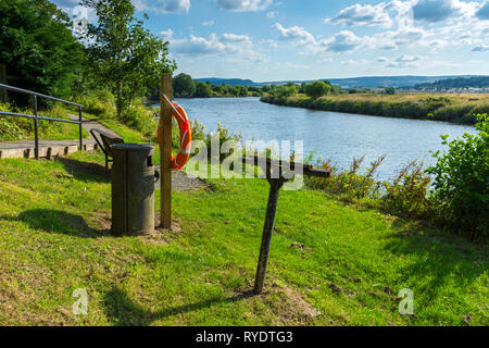 Lifebuoy by the river Forth at Stirling, Stirlingshire, Scotland, UK - Stock Image