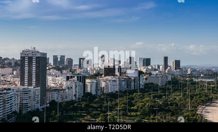 High perspective of Aterro do Flamengo and financial downtown district in Rio de Janeiro, Brazil. - Stock Image