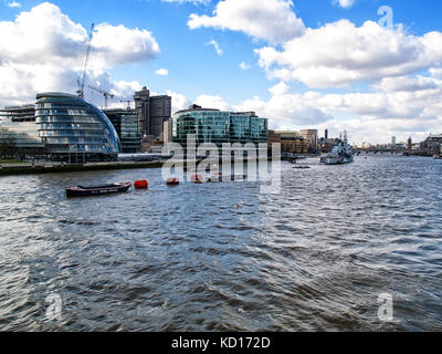 City Hall & HMS Belfast - River Thames, London, England, UK - Stock Image