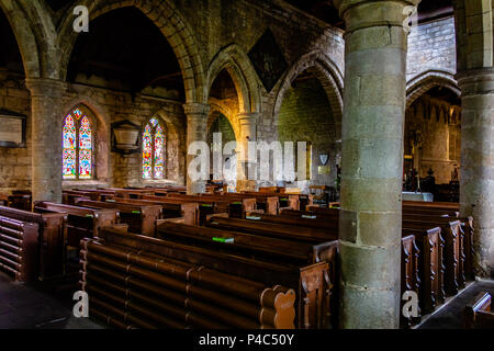Interior of the Parish Church of St Aidan, Bamburgh, Northumberland. 2018. - Stock Image