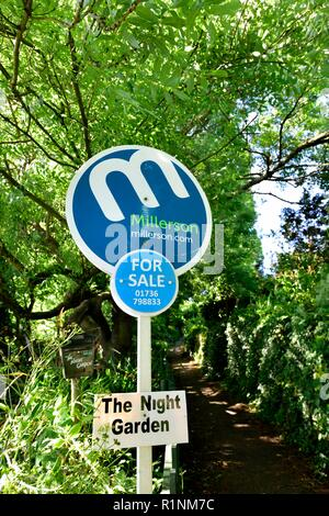 Property for sale sign,Carbis Bay,Cornwall,England,UK - Stock Image