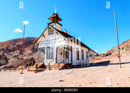Exterior of the old school house in Calico Ghost Town. - Stock Image